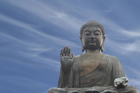 big buddha: The Tian Tan Buddha or Big Buddha in Hong Kong, China
