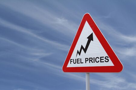 Road sign showing increasing trend of fuel prices Stock Photo - 13283696