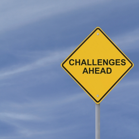 obstacle: �Challenges Ahead� warning sign  Stock Photo