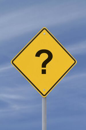A conceptual warning sign with a question mark implying uncertainty down the road Stock Photo - 13322145