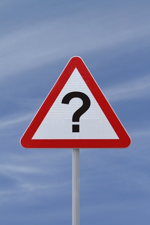 A conceptual warning sign with a question mark implying uncertainty down the road Stock Photo - 13322153