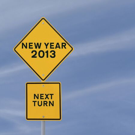 Road sign announcing the coming of the new year, 2013 Stock Photo - 13330663