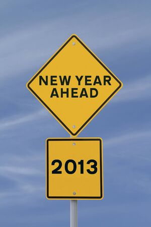 A road sign announcing the coming of the new year, 2013  photo