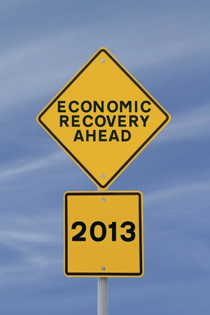 road to recovery: Road sign suggesting economic recovery in 2013  Stock Photo