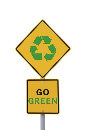 Go Green  environmental road sign on white photo