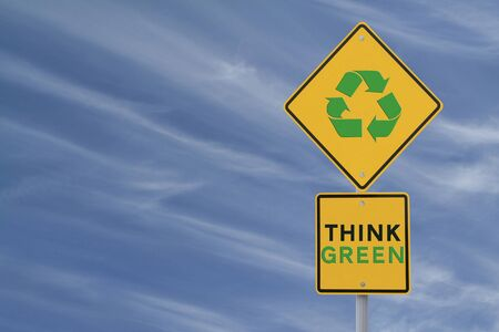 """Think Green and Recycling Symbol"" environmental road sign with copyspace Stock Photo - 13411478"