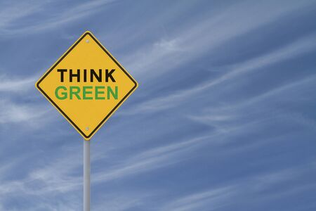 """environmental awareness: """"Think Green"""" environmental road sign with copyspace  Stock Photo"""