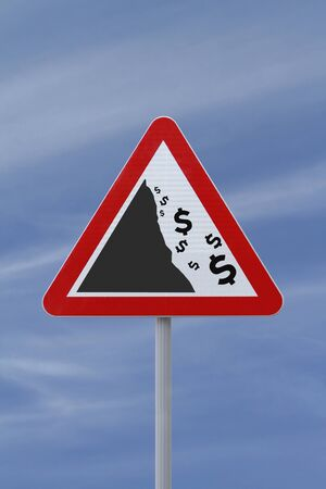 A modified road sign implying the fall or devaluation of the DOLLAR currency  Applicable for business or financial concepts Stock Photo - 13411473