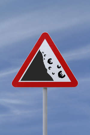 A modified road sign implying the fall or devaluation of the EURO currency  Applicable for business or financial concepts Stock Photo - 13411472