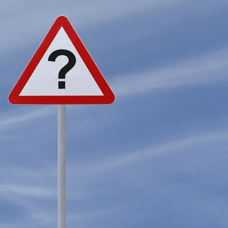 A conceptual warning sign with a question mark implying unknown danger down the road  Stock Photo