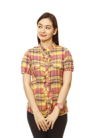 unbranded: Pretty young woman looking to her right. With white background. Clothing and accessories generic or unbranded.  Stock Photo