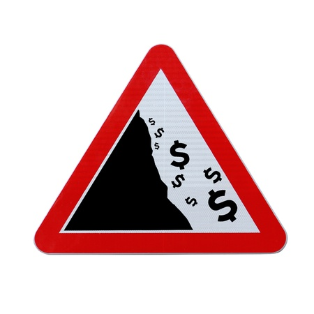 An actual road sign modified to imply the fall or devaluation of the dollar currency  Applicable for business or financial concepts   Isolated on white with clipping path    Stock Photo - 13562998