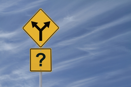 forked road: Conceptual road sign on choices or making decisions (with copy space)
