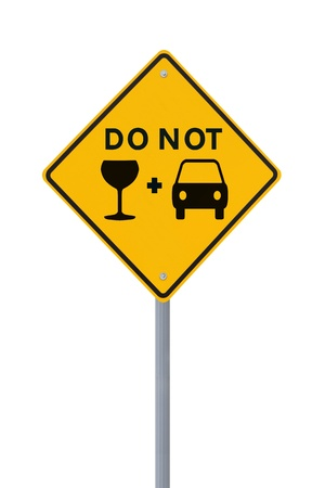 Modified road sign on the danger of drinking and driving  on white  photo
