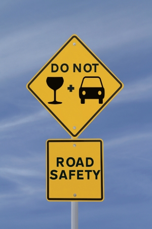 wine road: Modified road sign on the danger of drinking and driving  Stock Photo