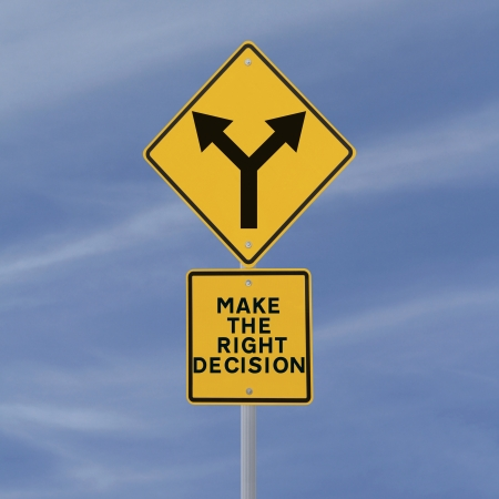 right choice: Conceptual road sign on decision making