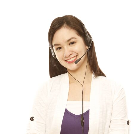 call center female: A young pretty woman wearing a headset (isolated on white)  Stock Photo