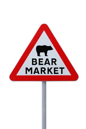 bear market: A modified road sign warning of a %uFFFDbear market%uFFFD ahead. Stock Photo
