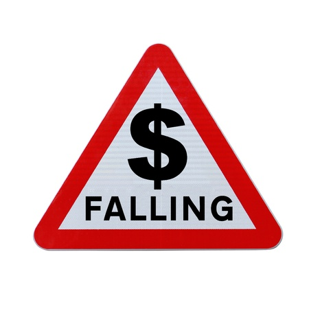 and decline: Falling dollar road sign.