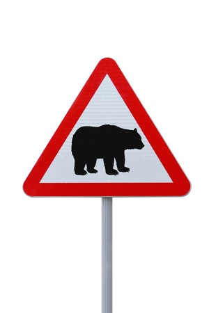slowdown: Bear crossing warning sign. Isolated on white Stock Photo