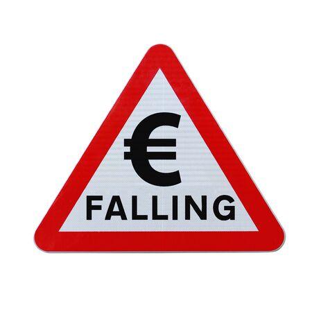 Falling euro warning sign Stock Photo - 13793838