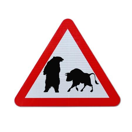 Een conceptueel verkeersbord voor zaken of finance impliceert onzekerheid op de markt (dat wil zeggen BEAR of stier). Stockfoto - 13827133