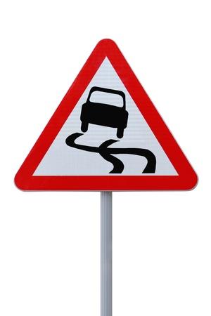%uFFFDSlippery Road%uFFFD warning sign  photo