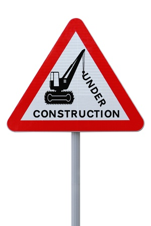 warning triangle: Modified road sign indicating an on-going repair or construction