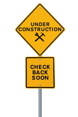 web page under construction: Under construction sign isolated on white  Applicable for website and web page status updates   Stock Photo