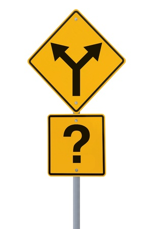 decis�es: Conceptual road sign on choices or making decisions (isolated on white)  Banco de Imagens