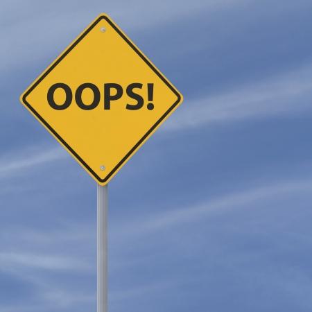 Oops! verkeersbord tegen een blauwe hemel achtergrond Stockfoto - 13934759