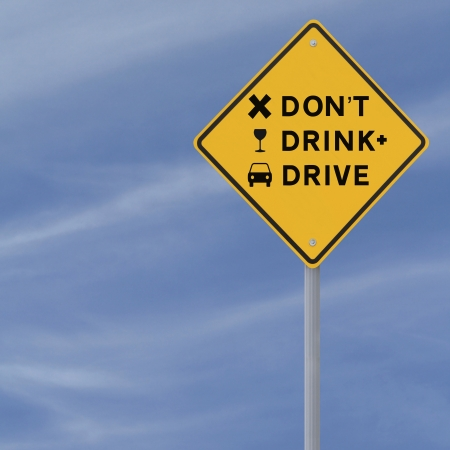 Modified road sign highlighting the danger of drinking and driving  Stock Photo
