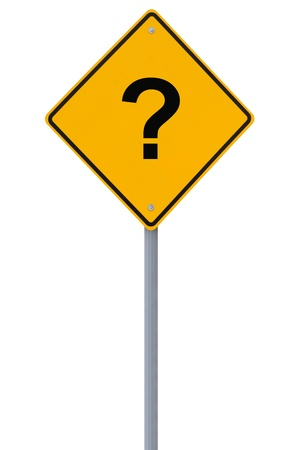 road mark: A conceptual warning sign with a question mark implying uncertainty down the road
