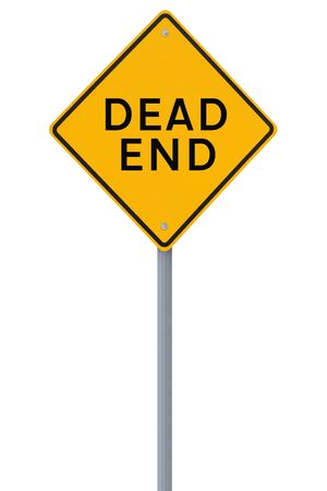 end of road: Dead End road sign on white Stock Photo