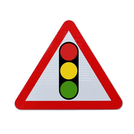 A road sign warning of a traffic light ahead (isolated on white with clipping path)  Stockfoto