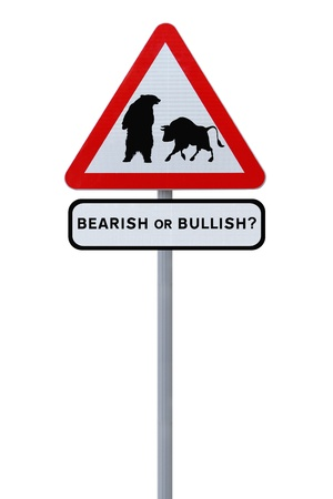 bullish market: A conceptual road sign on business or finance implying market uncertainty (i.e. BEAR or BULL). Isolated on white.