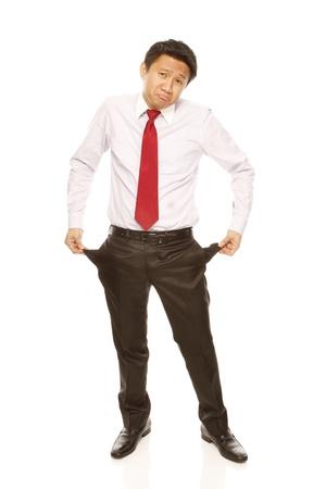 no shirt: Sad businessman with empty pockets