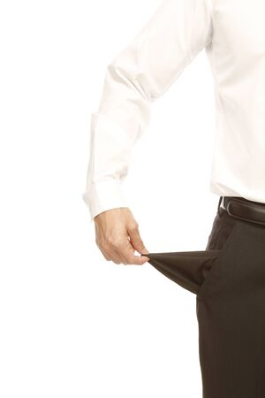 A man pulling out an empty pocket (isolated on white)  photo