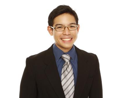 Een gelukkige jonge professional met een grote glimlach (geïsoleerd op wit) Stockfoto