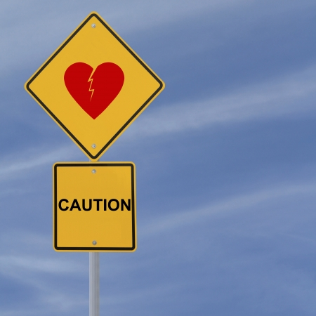 heartache: Road sign warning of heartbreak or heartache