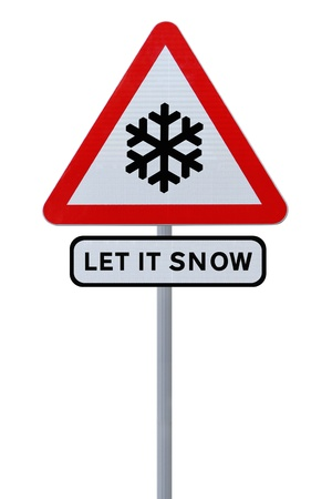 Modified road sign with the Christmas theme �Let It Snow� (isolated on white)  photo