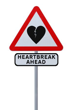 heartache: Modified road sign warning of heartbreak or heartache (isolated on white)