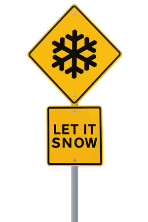 Modified road sign with the Christmas theme Let It Snow (isolated on white) Stock Photo - 14365661