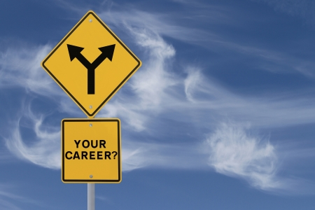 forked road: Road sign on the need for a career direction or decision (on a blue sky background)