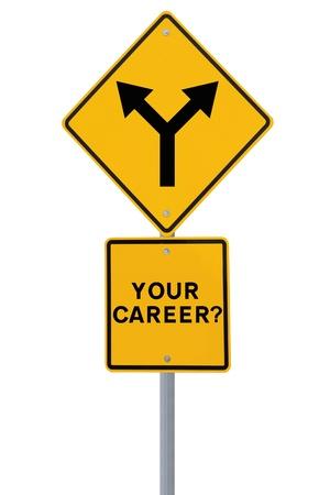 Verkeersbord op de noodzaak van een carrière richting of beslissing (op wit wordt geïsoleerd) Stockfoto