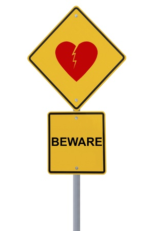 love hurts: Beware of heartbreak  on white  Stock Photo