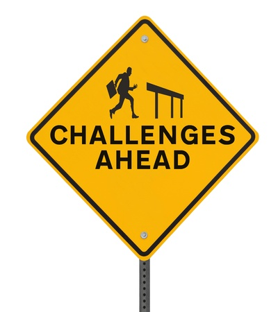 challenges: Road sign showing the silhouette of a businessman about to jump over a hurdle (on white with clipping path)
