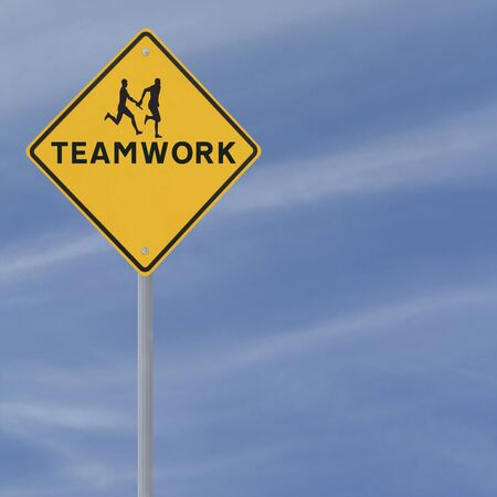 teammate: Road sign showing the silhouette of an athlete passing the baton to his teammate in a relay race (against a blue sky background with copy space)