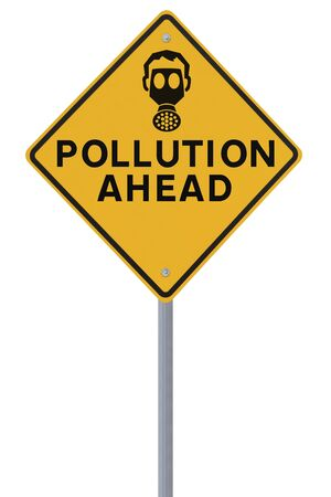 A road sign warning of pollution ahead  isolated on white   Stock Photo - 14500675