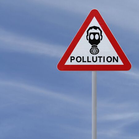 A road sign warning of pollution ahead  against a blue sky background   Stock Photo - 14500978